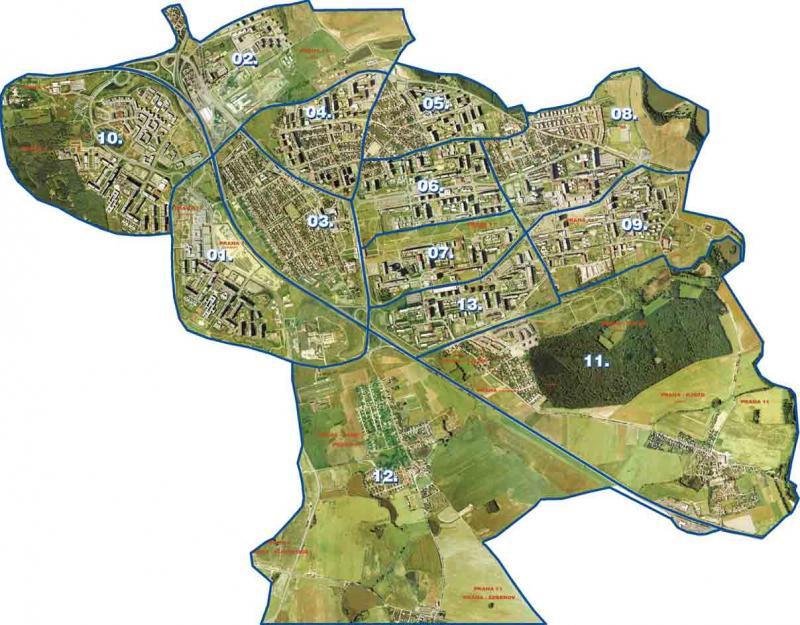 Mapa okrsků OŘ MP Praha 11, obrázek se otevře v novém okně
