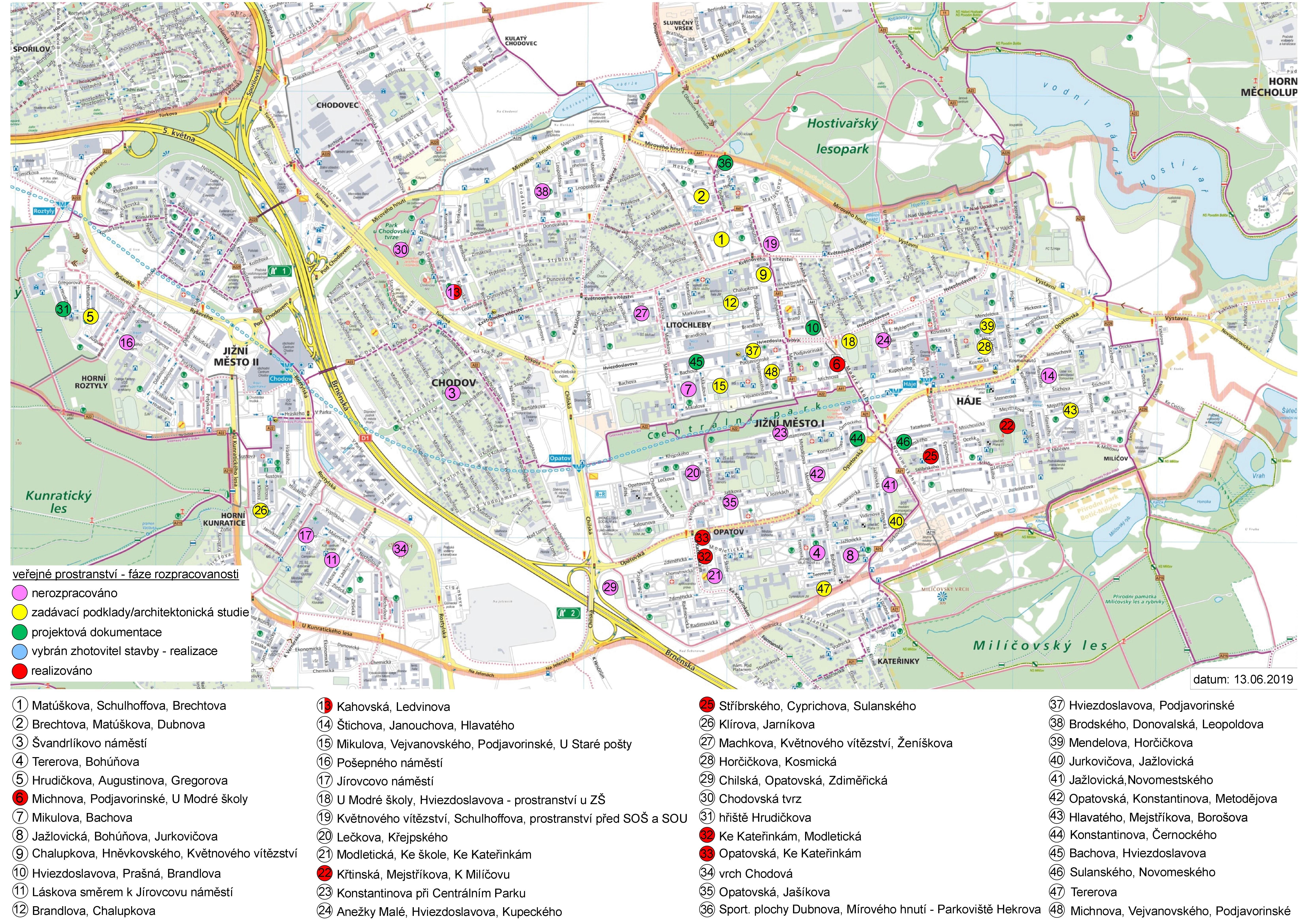 Mapa pobytových veřejných prostranství, obrázek se otevře v novém okně