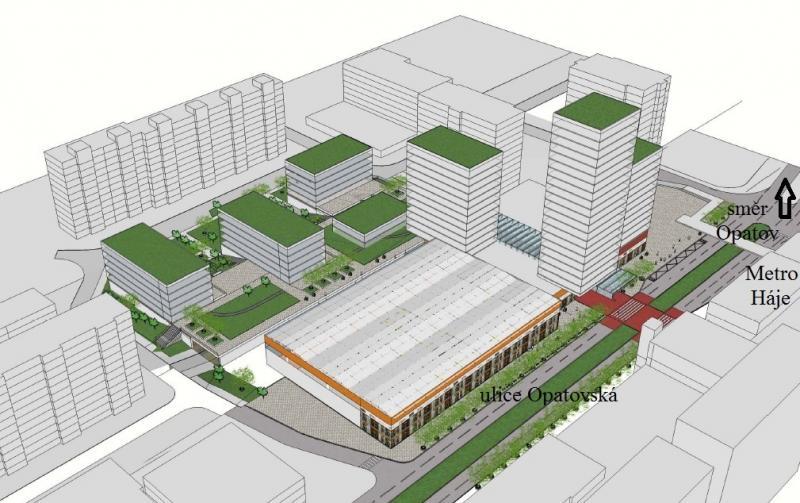Centrum Háje - zastavovací studie - vize2016b, obrázek se otevře v novém okně