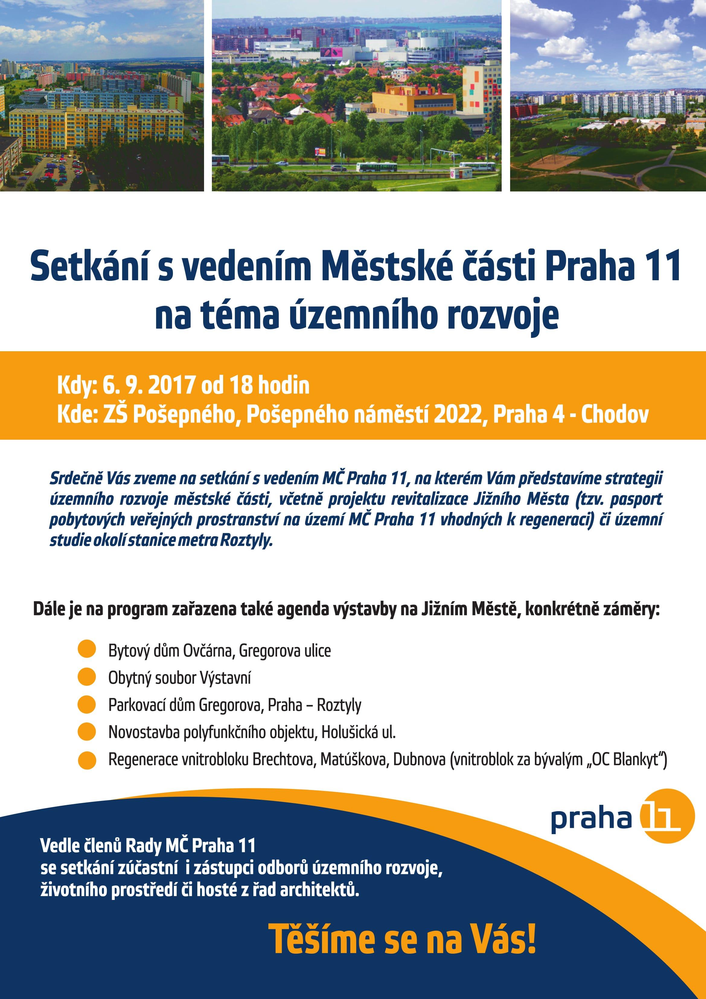 Pozvánka na setkání s vedením MČ Praha 11 na téma územního rozvoje